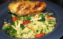 Chicken breasts with rapini and farfalle_Ken Horner
