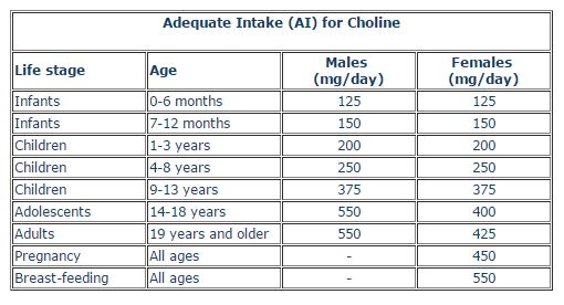 Choline requirements