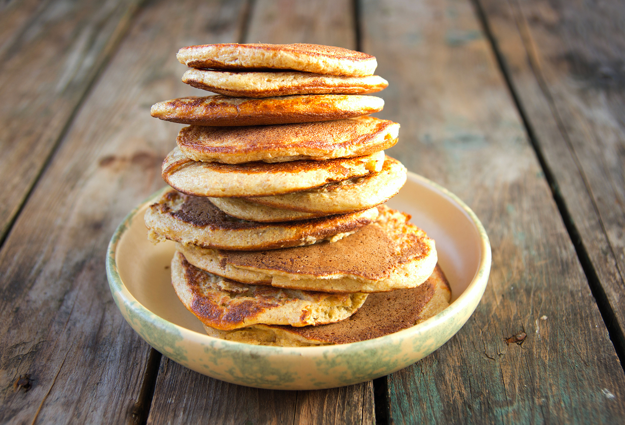 Stacked oatmeal pancakes