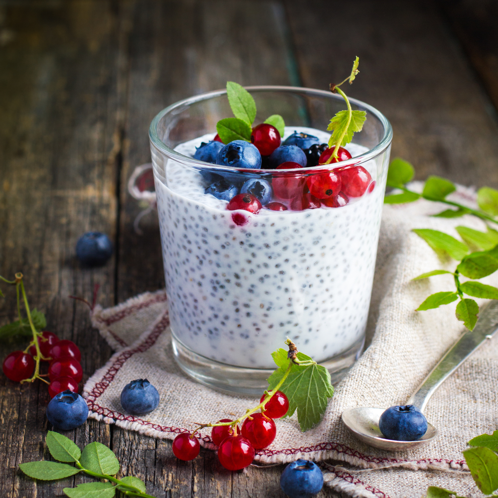Natural yogurt with chia seeds and fresh berries, concept of healthy food, square image