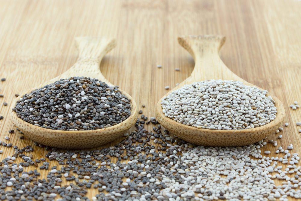 Chia seeds wooden spoons - Chia Seeds. Good Things Come in Small Packages