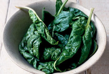 Fresh spinach leaves in a white bowl