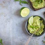 Guacamole with lime and rye toasts