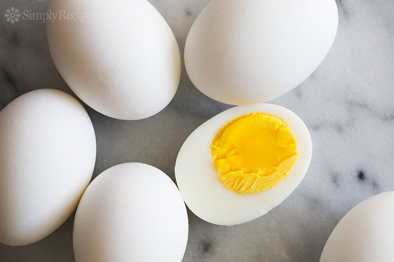 Hard boiled eggs on a marble background