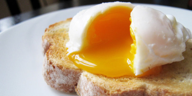 Poached egg on white toast on a plate