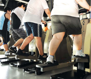 Overweight people exercising