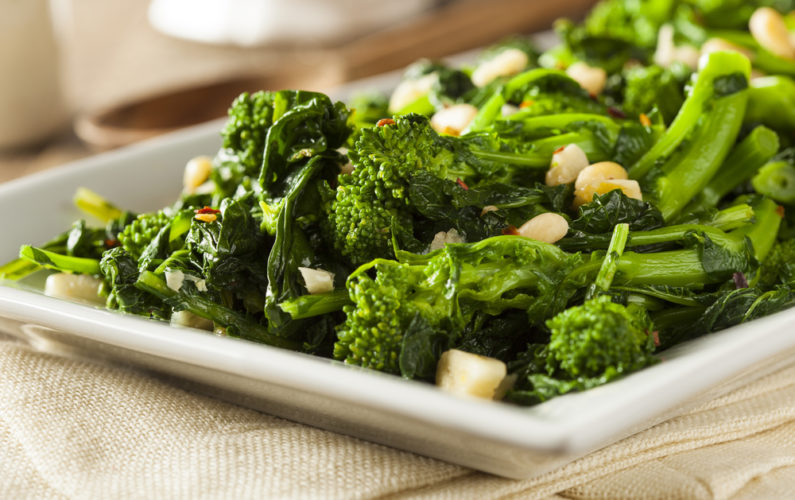 Homemade Sauteed Green Broccoli Rabe with Garlic and Pine Nuts