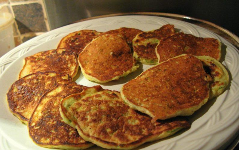 Apple zucchini flax pancakes