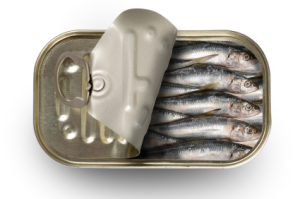 A half open can of sardines