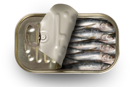 Sardines in a can with the lid partly open - by Doug Cook RD