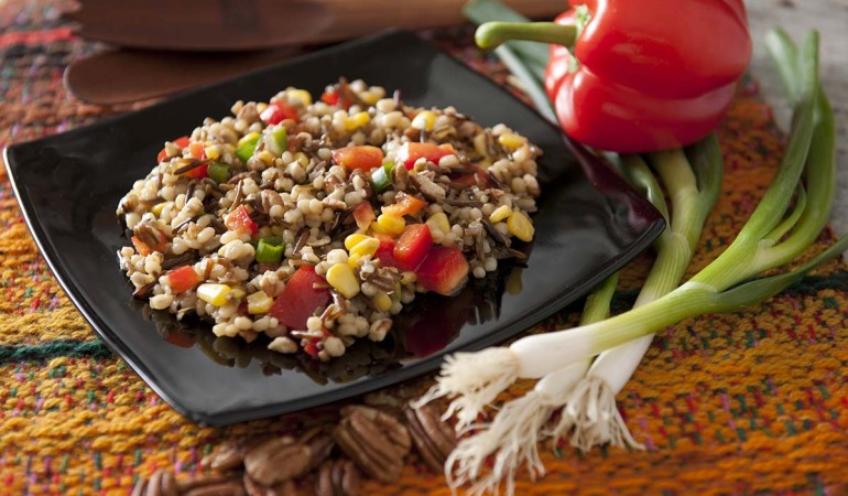 Asian Barley and wild rice on a black plate