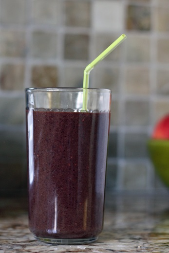 Smoothie with blueberries spinach and banana