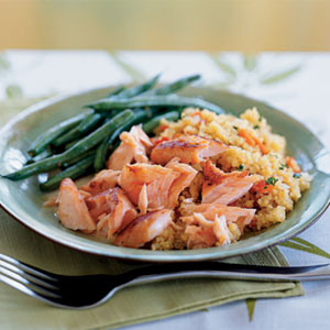 Sake salmon and quinoa