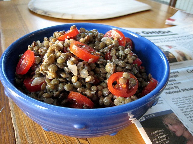 Lentil salad in a bowl with tomatoes