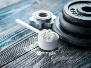 Creatine supplement on a table top
