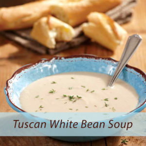White bean soup with baguette