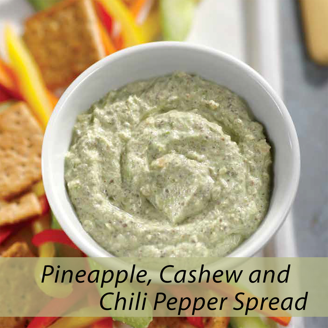 cashew spread with pineapple and chili peppers
