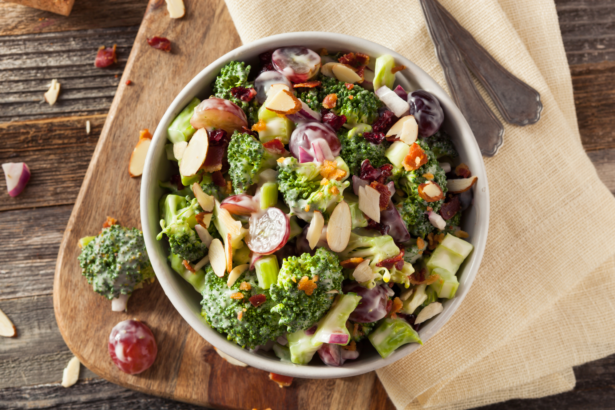 Homemade Green Broccoli Salad with Grapes Onion and Bacon