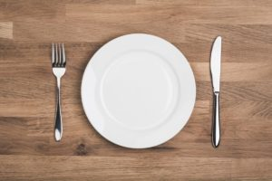A plate on a table with fork and knife