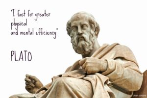 Statue of Plato with quote on intermittent fasting - by Doug Cook RD