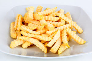 Frozen french fries in a serving dish