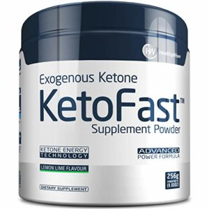 A canister of ketone supplements