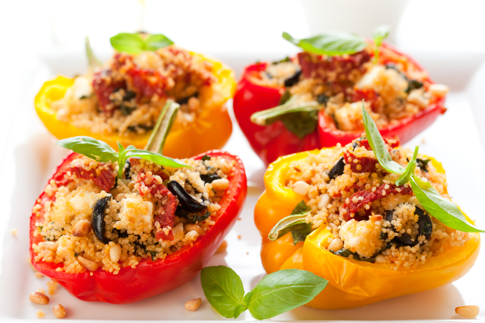 Stuffed peppers with couscous and ground turkey