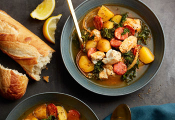 Fish soup with sausage and potatoes