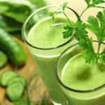 Green juice with celery cucumber apple