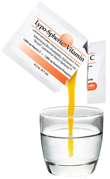 Liposomal vitamin C pouring into a glass of water - by Doug Cook RD
