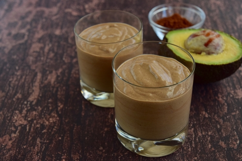 Avocado chocolate coconut smoothie