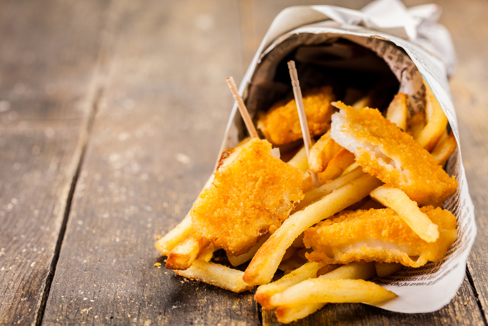 Fish and chips in traditional newspaper cone