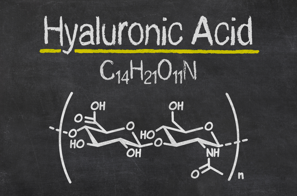 Chemical formula of hyaluronic acid drawn on a blackboard - by Doug Cook RD