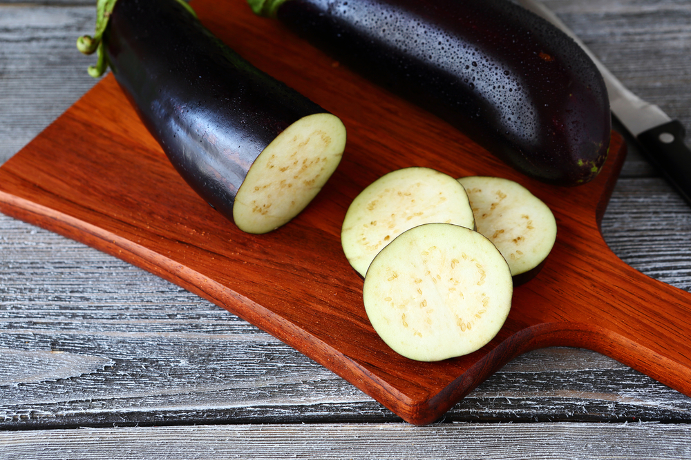 Pieces of sliced ​​eggplant, fresh food