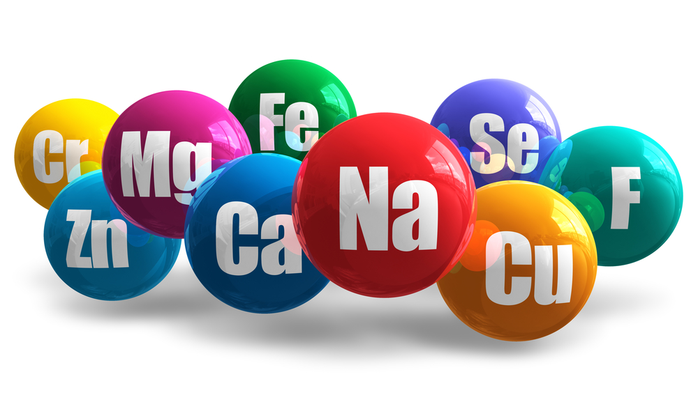 Various spheres representing vitamins and minerals