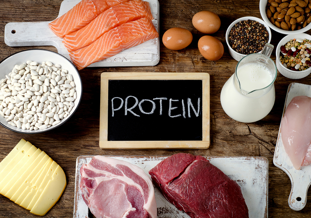 Best Foods High in Protein on wooden background. Healthy eating and diet