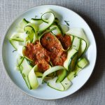 Zucchini noodles with marinara sauce