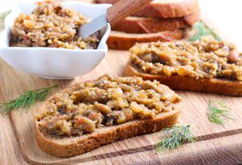 Eggplant walnut spread on bread