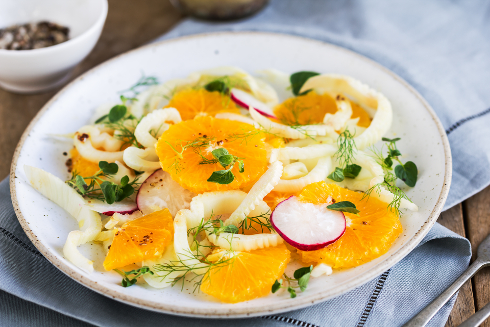 Orange with Fennel and Radish salad with vinaigrette