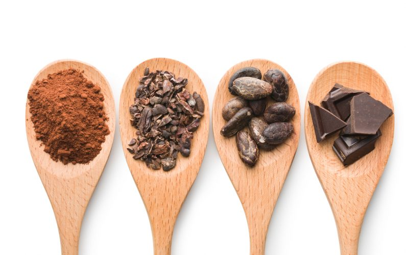 Cacao beans, cacao powder, cacao nibs and dark chocolate on wooden spoons